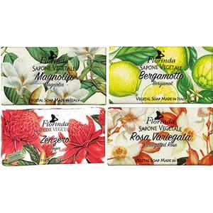 Pachet promo LA DISPENSA Florinda: Sapun cu flori de bergamota, 100g + Sapun cu trandafir pestrit, 100g + Sapun cu ghimbir, 100g + Sapun cu magnolie, 100g