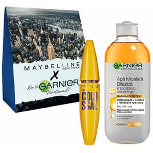 Set cadou GARNIER Skin Naturals: Apa micelara bifazica, 400ml + Mscara MAYBELLINE NEW YORK The Colossal, Black, 10.7ml