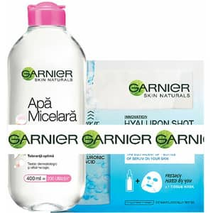 Set cadou GARNIER Skin Naturals: Apa micelara Sensitive, 400ml + Masca de fata Fresh-Mix cu Acid Hialuronic, 33g