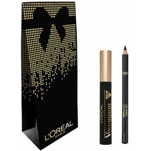 Set cadou L'OREAL PARIS: Mascara Volumissime, Extra Black, 7.5ml + Creion de ochi Superliner Le Khol, 101 Midnight Black, 1.2g