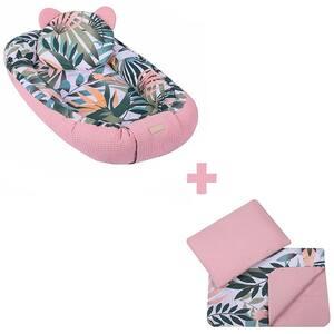 Set Baby Nest cu paturica si pernuta E-KIDS Jungle Pink SBN_002, 50x100 cm, roz-verde