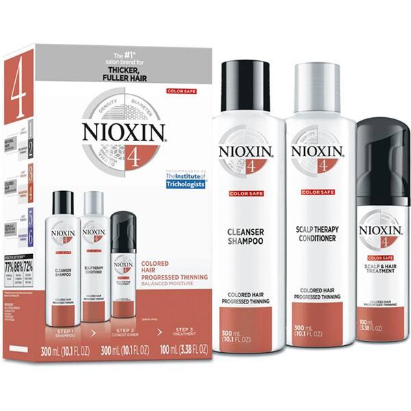 Set NIOXIN No.4: Sampon, 300ml + Balsam de par, 300ml + Tratament de par, 100ml