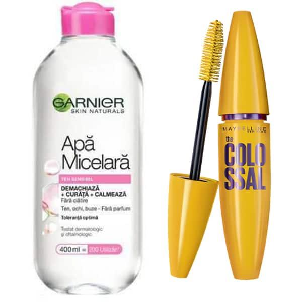 Pachet promo Mascara MAYBELLINE NEW YORK The Colossal volum colosal, Black, 10.7ml + Apa micelara ten sensibil Garnier Skin Naturals, 400ml