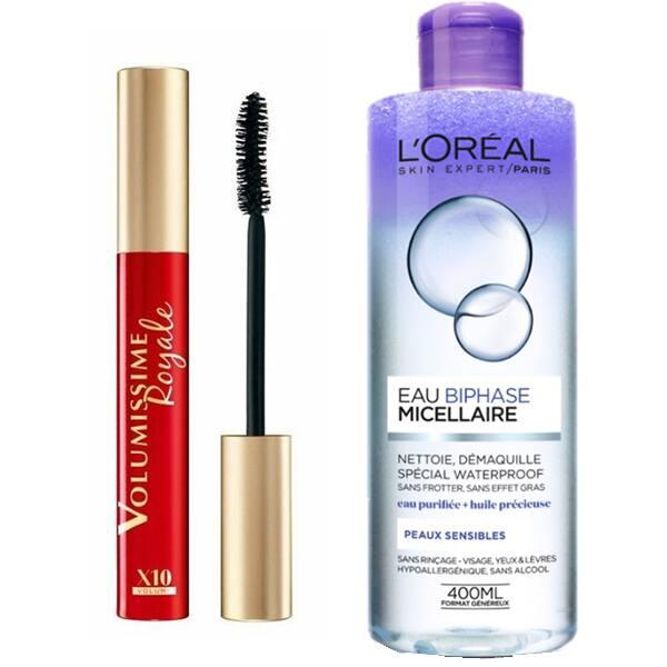 Pachet promo L'OREAL PARIS: Mascara Volumissime Royale, Black, 7.5ml + Apa micelara bifazica waterproof ten sensibil, 400ml