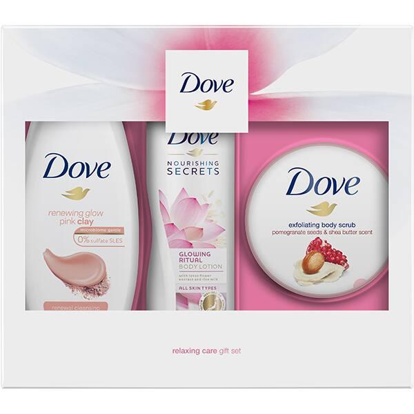 Set cadou DOVE Renewing Glow Trio: Gel de dus Glowing Pink Clay, 250ml + Exfoliant pentru corp Pomegranate&Shea Butter, 225ml + Lapte de corp Lotus&Rice Water, 250ml