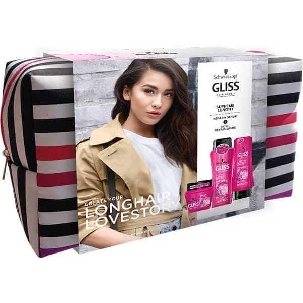 Set cadou SCHWARZKOPF Gliss Supreme Length: Sampon, 250ml + Balsam, 200ml + Masca de par, 300ml