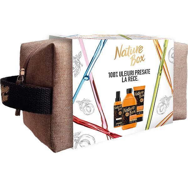 Set cadou NATURE BOX Apricot: Gel de dus, 385ml + Exfoliant pentru corp, 200ml + Ulei de corp, 150ml