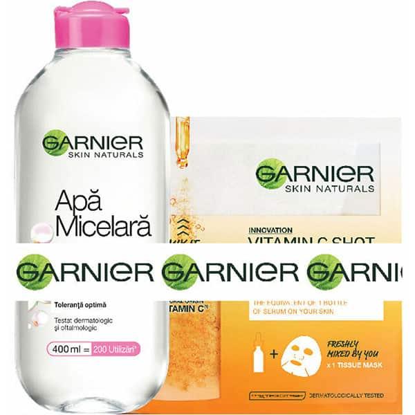 Pachet promo GARNIER Skin Naturals: Apa micelara Sensitive, 400ml + Masca de fata Fresh-Mix cu Vitamic C, 33g