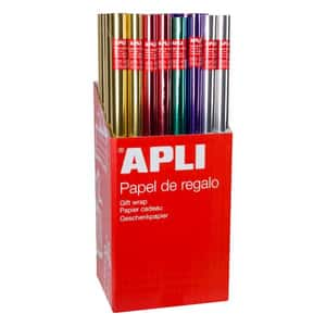 Hartie de impachetat APLI, 70 cm x 2 m, hartie, culori metalizate, 55 bucati/set