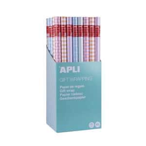 Hartie de impachetat APLI, 70 cm x 2 m, hartie, culori pastelate, 55 bucati/set