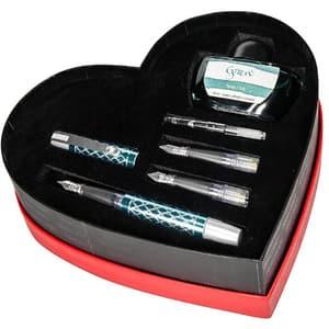 Set stilou, 2 penite, calimara si convertor ONLINE Diamond Turquoise Heart, turcoaz