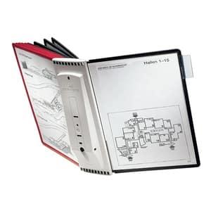 Sistem de prezentare pentru perete DURABLE Sherpa, 10 display-uri, rosu-negru