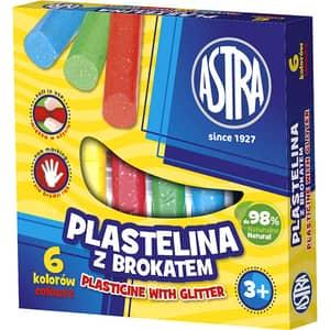 Plastilina cu sclipici ASTRA, 6 culori