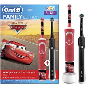 Set 2 Periute de dinti electrice ORAL-B Family Edition, 2 programe, 40000 pulsatii/min, 2 capete + Periuta de dinti electrica pentru copii ORAL-B Cars