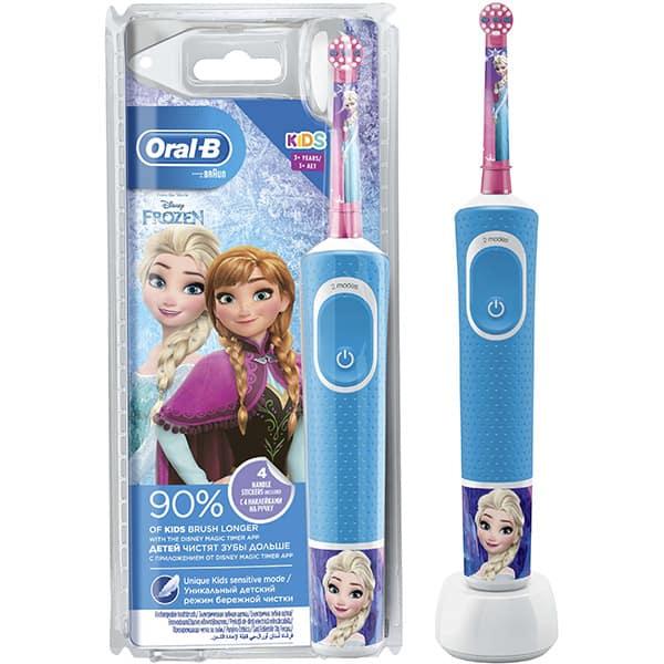 Periuta de dinti electrica ORAL-B D100 Vitality Frozen pentru copii 7600 oscilatii/min, Curatare 2D, 2 programe, 1 capat, 4 stickere incluse, albastru
