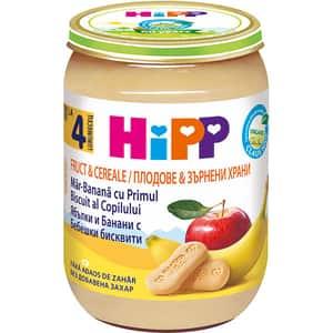 Piure HIPP cu mere, banane, cereale si primul biscuite al bebelusului 1324, 4 luni+, 190g