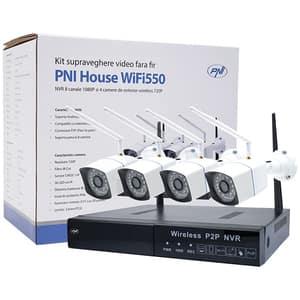 Kit supraveghere wireless PNI WiFi550, 4 camere HD 720p, NVR, 8 canale, alb-negru
