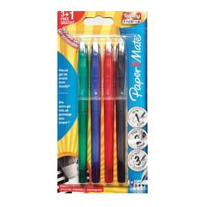 Set 4 pixuri tip roller cu gel PAPERMATE Replay Premium Erasable, 0.7 mm, 4 culori