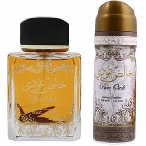 Set cadou LATTAFA PERFUMES Pure Oudi: Apa de parfum, 100ml + Deodorant spray, 50ml
