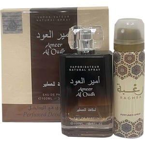 Set cadou LATTAFA PERFUMES Ameer al Oud: Apa de parfum, 100ml + Deodorant spray, 50ml