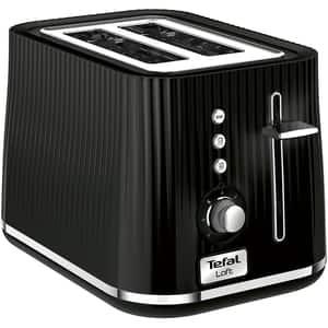 Prajitor paine TEFAL Toaster Loft TT761838, 2 felii, negru-argintiu