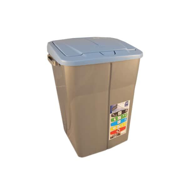 Cos de gunoi cu capac PLASTOR Eco Bin, colectare selectiva, 45 L, albastru
