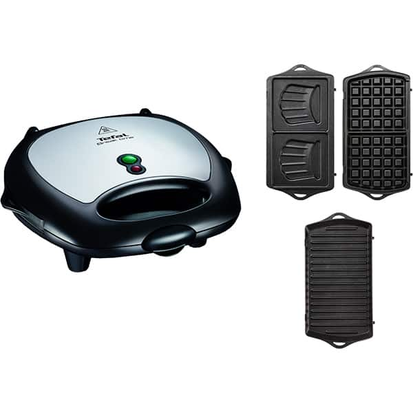 Sandwich maker TEFAL Break Time SW614831, 700W, 3 placi detasabile, negru-argintiu