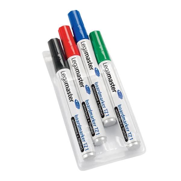 Marker pentru tabla LEGAMASTER TZ1, 1.5-3 mm, 4 culori (negru, rosu, albastru, verde)