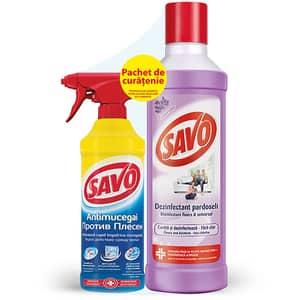 Pachet dezinfectant padoseli SAVO Lavanda 1l + Antimucegai Universal 500 ml