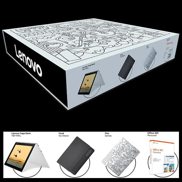 Pachet Laptop 2 in 1 LENOVO Yoga Book YB1-X91L cu Windows 10 Pro preinstalat + Office 365 + Husa + Skin laptop