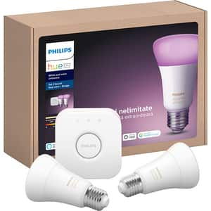 Kit 2 becuri LED PHILIPS Hue, 10W (60W), E27, Lumina RGB + Bridge