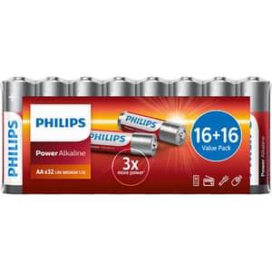 Baterii alcaline PHILIPS LR6, AA, 32 bucati