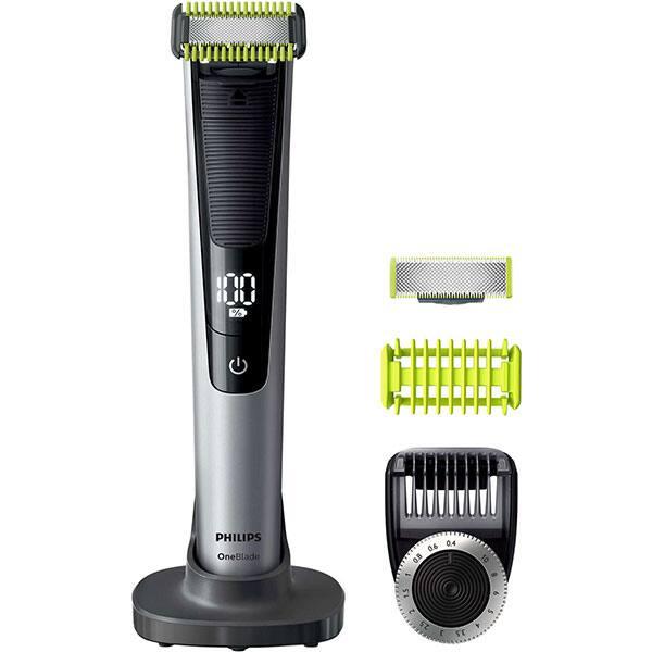 Aparat hibrid de barbierit si tuns barba PHILIPS OneBlade Pro Face & Body QP6620/20, acumulator, autonomie 90 min, Afisaj digital, negru-argintiu