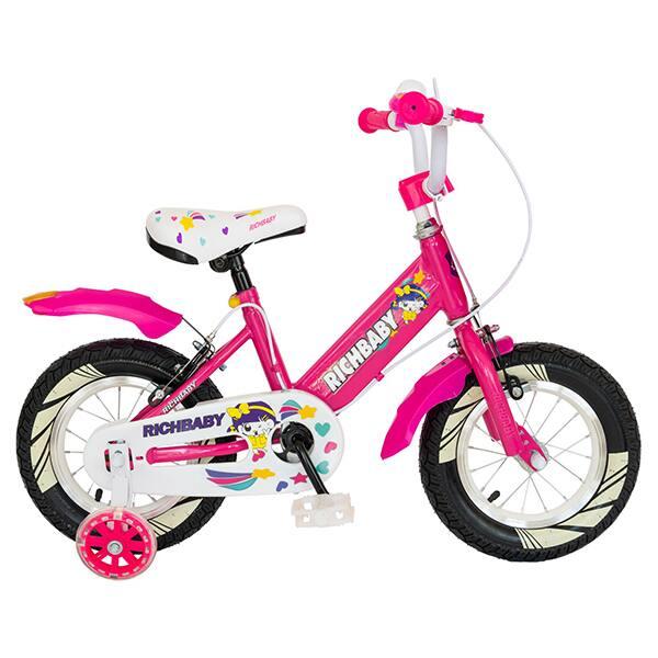 "Bicicleta fete RICH R1408A, 14"", fucsia-alb"