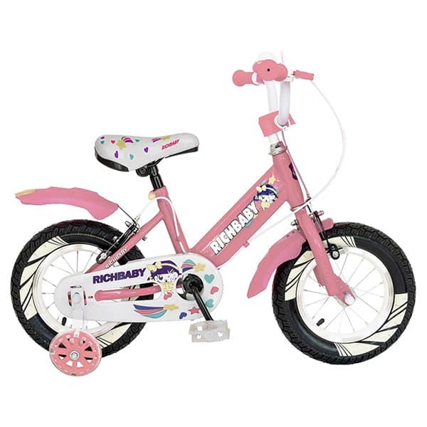 "Bicicleta fete RICH R1408A, 14"", roz-alb"
