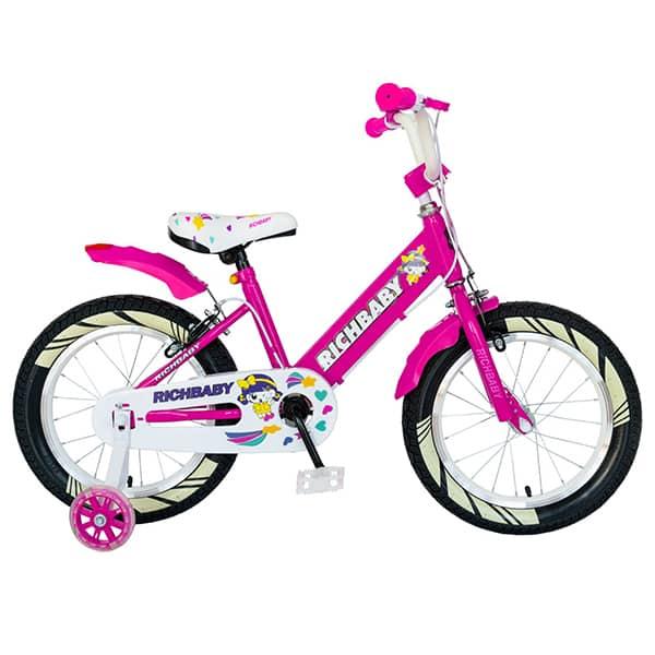 "Bicicleta fete RICH R1808A, 18"", fucsia-alb"