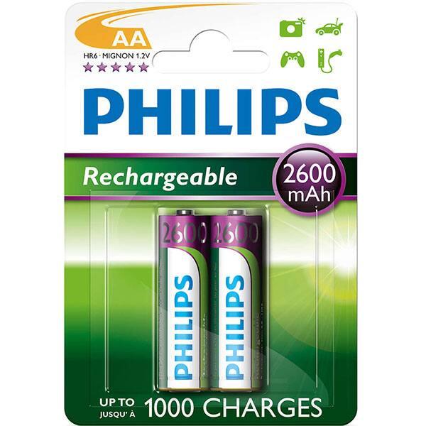 Acumulatori PHILIPS R6B2A260/10, AA, 2600 mAh, 2 bucati