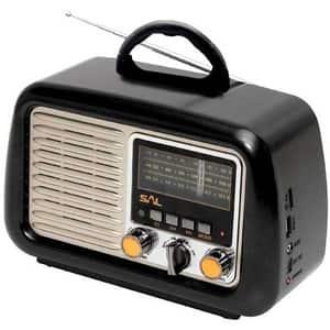 Radio retro SAL RRT 2B, FM, Bluetooth, USB, negru
