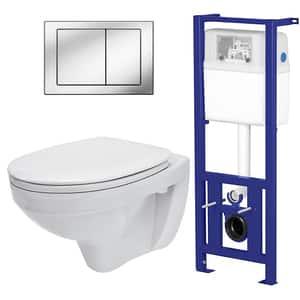 Set vas toaleta CERSANIT 206 SYSTEM 01, montaj incastrat, evacuare spate, cu capac, alb