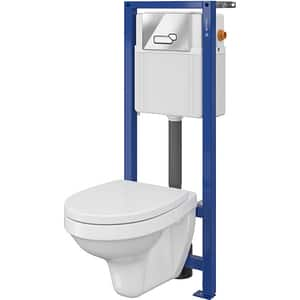 Set vas toaleta CERSANIT 241 SYSTEM 01, montaj incastrat, evacuare spate, cu capac, alb