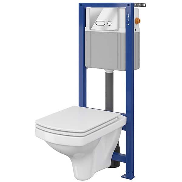 Set vas WC CERSANIT B137 SYSTEM 21, montaj incastrat, evacuare spate, cu capac, alb