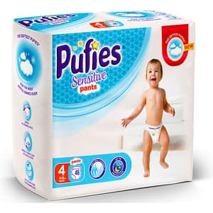 Scutece chilotei PUFIES Sensitive nr 4, Unisex, 9 - 15 kg, 46 buc