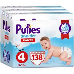 Scutece chilotei PUFIES Sensitive Maxi nr 4, Unisex, 9-15 kg, 138 buc