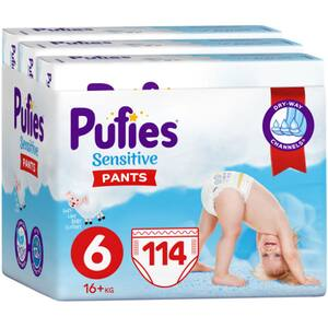 Scutece chilotei PUFIES Sensitive Extra Large nr 6, Unisex, 16kg+, 114 buc