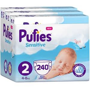 Scutece PUFIES Sensitive nr 2, Unisex, 4-8 kg, 240 buc