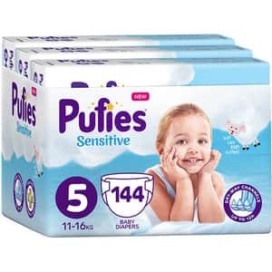 Scutece PUFIES Sensitive nr 5, Unisex, 11-16 kg, 144 buc