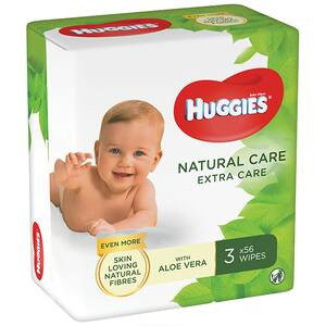 Servetele umede HUGGIES Natural Care Extra Care, 3 pachete, 168 buc