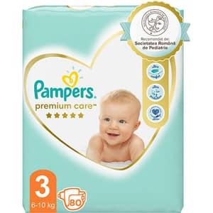 Scutece PAMPERS Premium Care Jumbo Pack nr 3, Unisex, 6-10 kg, 80 buc