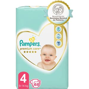Scutece PAMPERS Premium Care nr 4, Unisex, 9-14 kg, 68 buc
