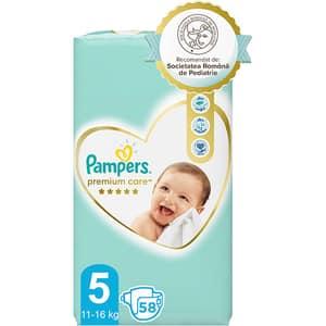 Scutece PAMPERS Premium Care nr 5, Unisex, 11-16 kg, 58 buc